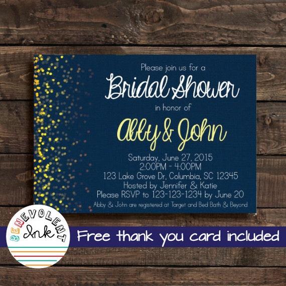 Bridal Shower Invitation Navy Blue & Yellow By BenevolentINK