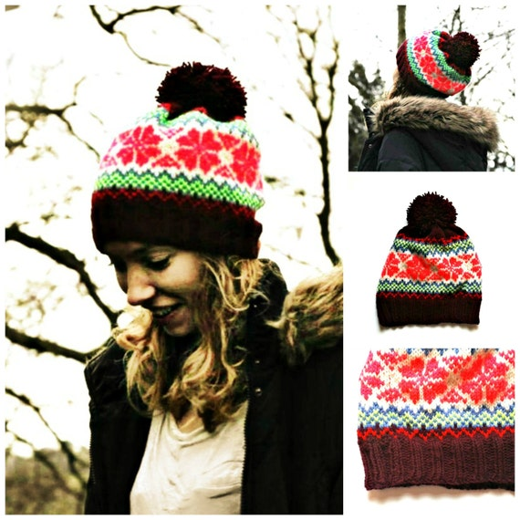 PDF Knitting Pattern - Fair Isle Pattern - Beanie Hat - Bobble Hat - Pom Pom ...