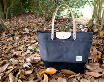 Waxed Canvas Tote Bag with Leather Handles and Snap Closure - Extra Large Charcoal Gray & Black Color Blocked Tote