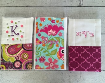 Personalized Baby Burp Cloth Set of 3