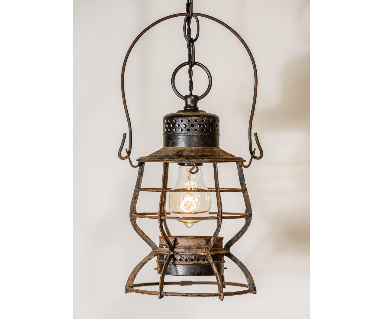 Hanging Antique Lantern Vintage Rusted Light Fixture