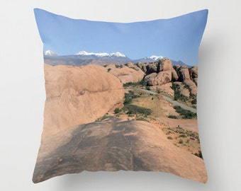 Moab,Utah, Pillow Cover,16x16,18x18,20x20,home decoration,green,red,blue,rustic,landscape,country living,travel photography,redrock,desert