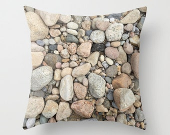 Rocks Block Island, Pillow Cover,16x16,18x18,20x20,home decor,cottage decor,interior design,beige,red,brown,ocean,nautical,country living