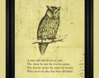 Vintage Owl Illustration, Wise Old Owl Drawing, Hoot Owl Art Print with Inspirational Quote Poem - 8 x 10