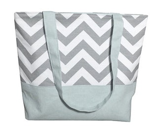 Gray Chevron Tote With Color of Choice