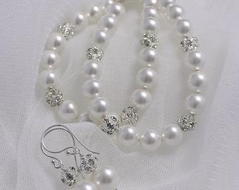 Bridal Jewelry Set, Wedding Jewelry Set, Bridal Jewellery Set,  Pearl Bracelet & Earrings, Bridesmaids Jewelry Set