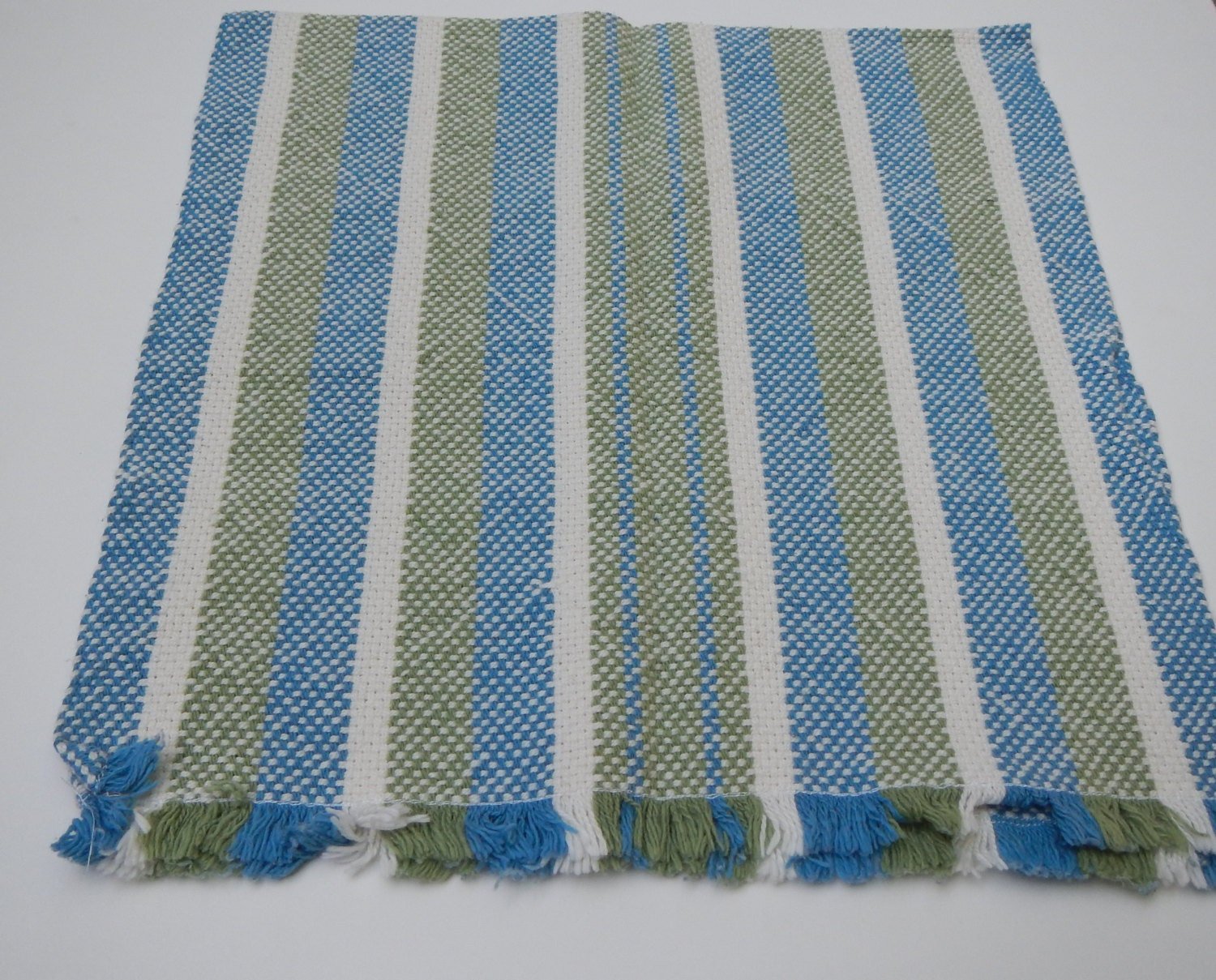 Stripe Blue Green And White: Handwoven Striped Towel Blue Green And White By WarpedWeavings