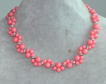 pink coral Necklace,pink coral Glass bead Necklace,pink coral flower Necklace,Wedding Necklace,bridesmaid necklace,statement necklace