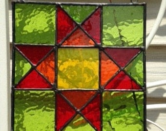 Square Ohio Star quilt block stained glass panel