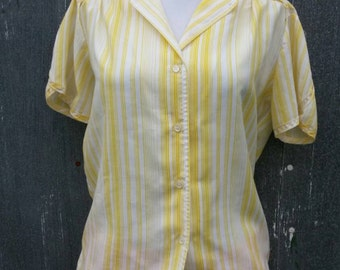 Yellow striped blouse by Salem/11-12/ 1970s