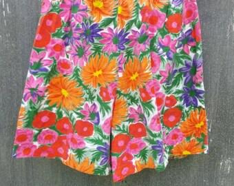 Bright floral high waisted shorts, medium