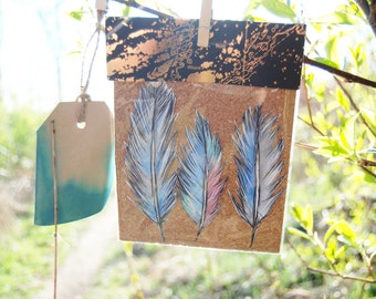 Feather stickers set of 3