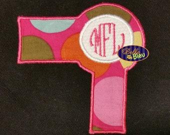 Stylist Blow Hair Dryer Monogram Applique Embroidery Designs Design