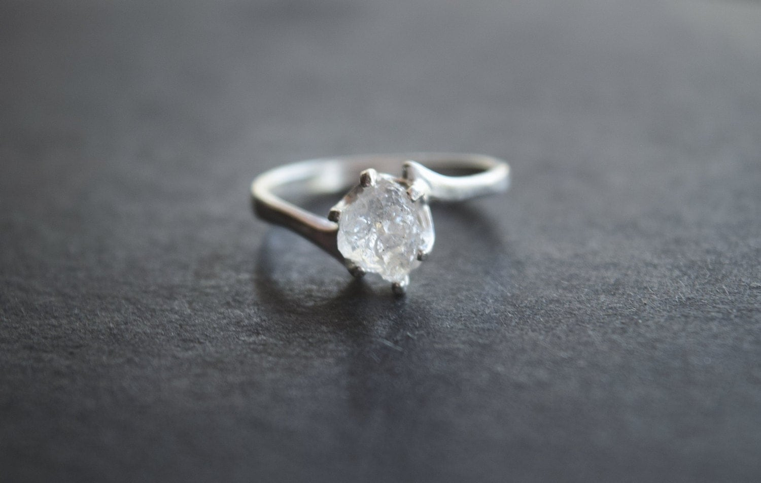 Boho Engagement Ring Raw Diamond Ring Rough Diamond Wedding