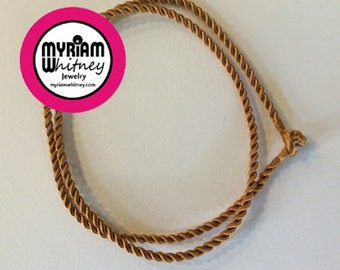 Camel Brown Silk Cord Necklace for Pendant and Jewelry - Brass Rope Necklace
