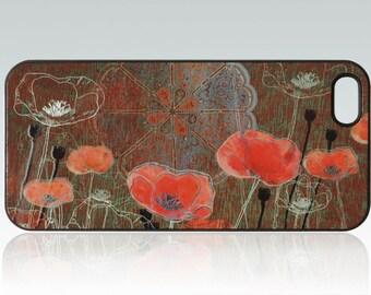 Poppy iPhone 5 case, floral iPhone 5s cover, unique, cute iPhone 5 case, red flowers iPhone 5s case nature