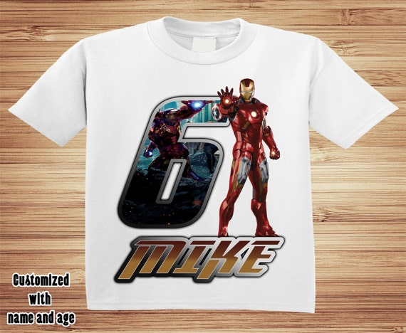 Personalized Iron Man Birthday T Shirt -
