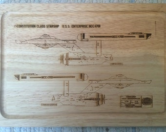 Star Trek Inspired USS Enterprise Schematic Blueprint Chopping Board