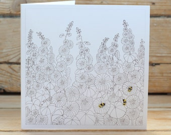 Hollyhocks & Bumble Bees Greeting Card
