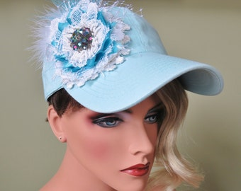 OTT Pastel Aqua Embellished Ladies Baseball Cap