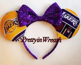 LA Lakers inspired Mickey Mouse ears headbands