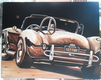 "Shelby Cobra sports car painting oil painting on canvas 32""X40"""
