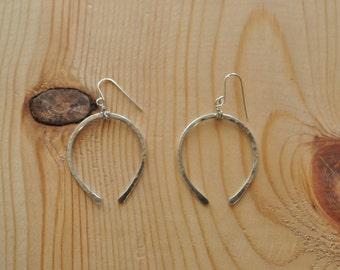 Sterling Silver Hammered Wishbone Earrings