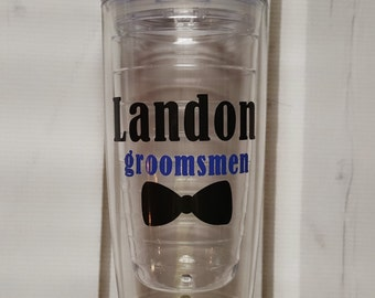 Groomsmen Tumbler, Monogram Groomsmen Acrylic Tumbler Cup, Personalized groomsmen gift, Monogrammed Groomsmen Cup
