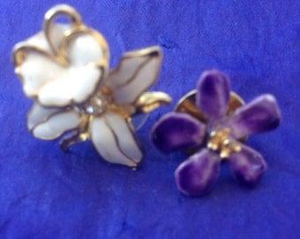 Two vintage enamelled flower pins
