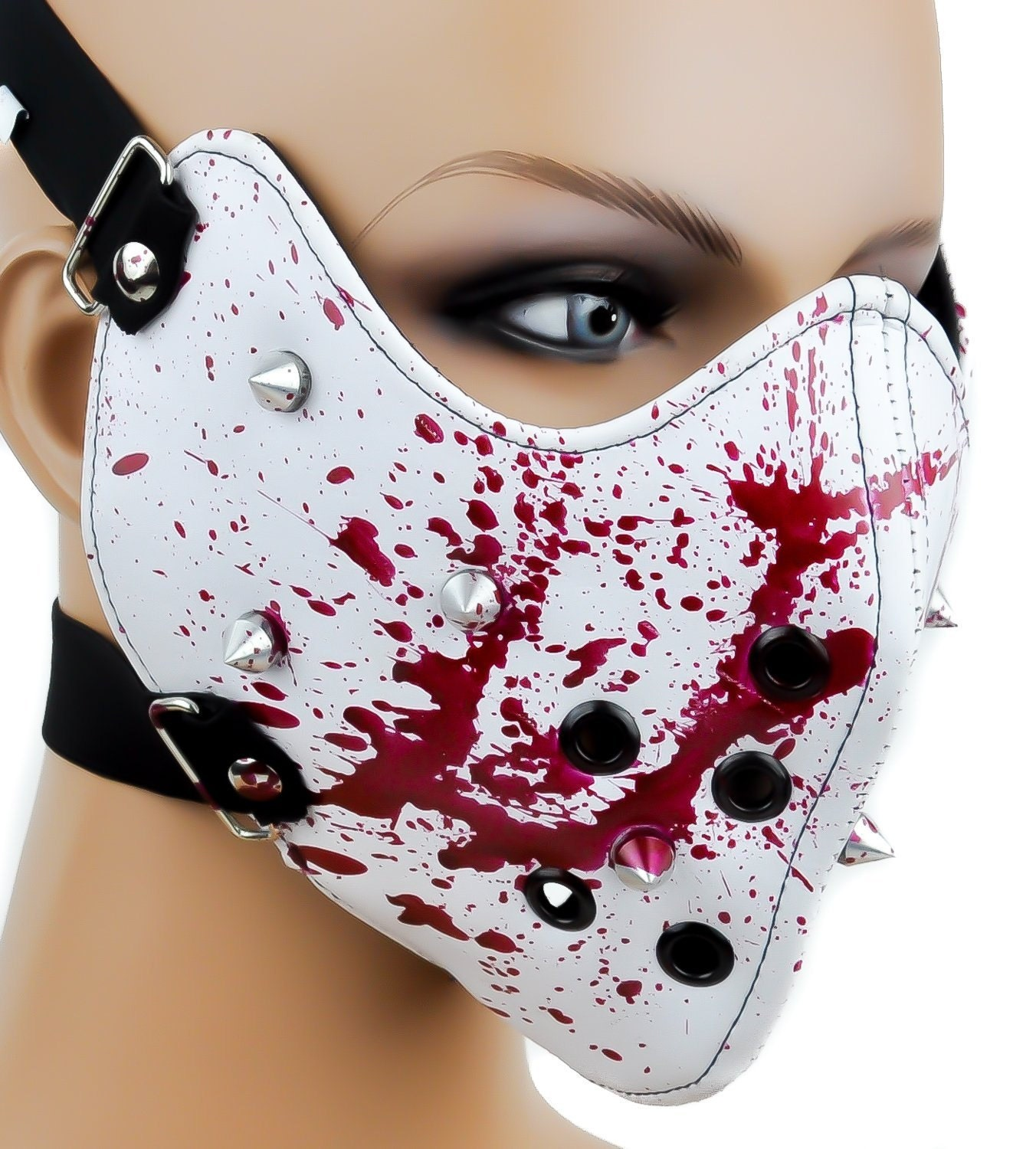 Halloween horror Blood splatter Motorcycle faux leather Face