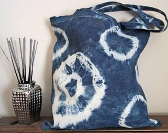 Hand Dyed Shibori Tote Bag