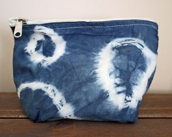 Hand Dyed Shibori Cosmetic Bag Pouch Pencil Case
