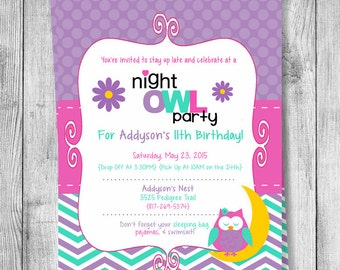 Night Owl Birthday Invitation - 5x7