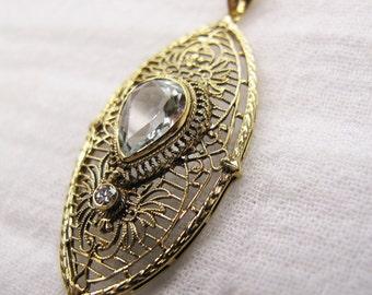 14k gold Art Deco pendant