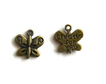"""6 Bronze Butterfly Charms - """"Created For You"""""""