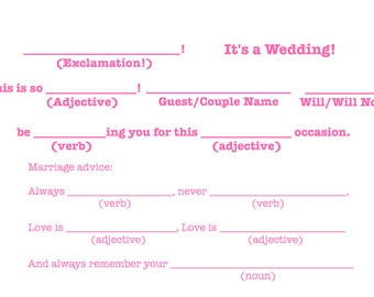 "Mad-Lib R.S.V.P ""It's a wedding!"" Template - Bright Pink"