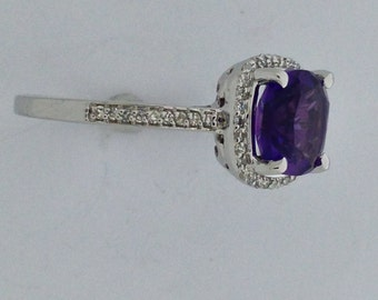 Natural Amethyst with Natural Diamond Ring Solid 14kt White Gold