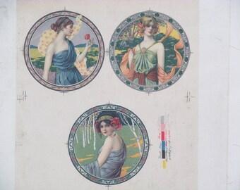 Original Vintage Three Girls Art Deco Artist Proof