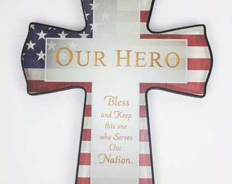 AMERICAN FLAG CROSS Patrotic Custom Personalize Laser Engraved