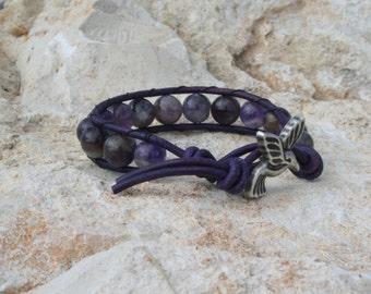 Beaded Wrap Bracelet - Hummingbird Wrap Bracelet - Boho Wrap Bracelet - Leather Wrap Bracelet