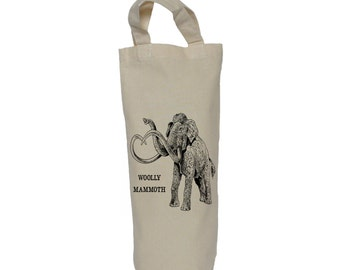 Wine tote, bottle bag, woolly mammoth cotton bag, gift bag