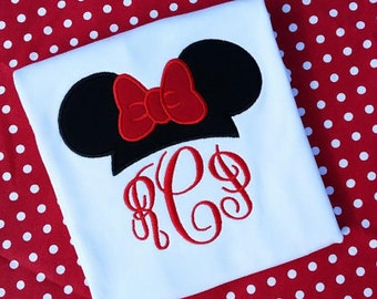 Minnie Mouse Ears Hat Monogram t-shirt. A Traditional appliqued Disney T-shirt with Monogram.