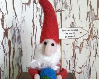 Needle Felt Teacher Gift Gnome/ Cranberry color