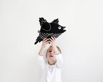 cute screen printed cotton bird pillow children kid stuffed animal toy black and white graphic design bird shaped baby shower