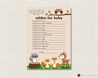 Woodland Animal Wishes for Baby - Wishes for Baby Card, Well Wishes for Baby, Forest Animal, Baby Shower Wishes for Baby - Printable, DIY