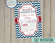 Red, White and Blue Nautical themed Baby Shower Invitation, Customizable, 5X7, Chevron, Digital File