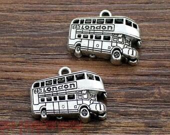 12pcs--Bus Charms, Antique Tibetan Silver Tone double decker bus Pendants/Charms 25x20mm