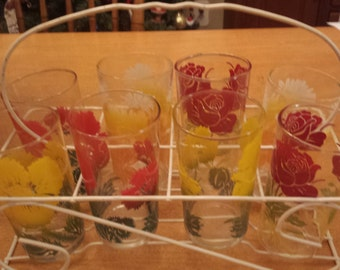 Vintage Red and Yellow Flowers Drinking Glasses Set of 8 and Stand