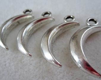 4 - Double Sided Large Silver Moon Charms