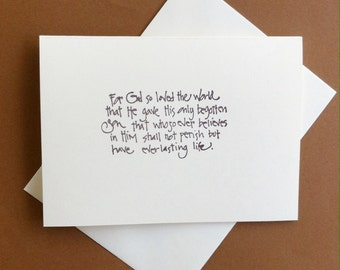 7 Scripture blank note cards.  John 3:16 . Cards are ivory .